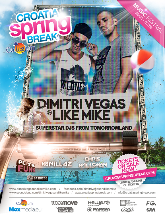 Dimitri Vegas Like Mike de Tomorrowland en tete d'affiche de Croatia Spring Break